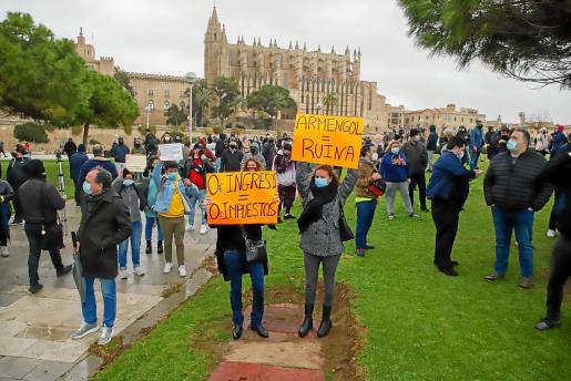 Protesta en Palma contra las restricciones el pasado fin de semana.