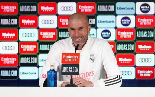 El entrenador del Real Madrid, Zinedine Zidane, durante una reciente rueda de prensa.