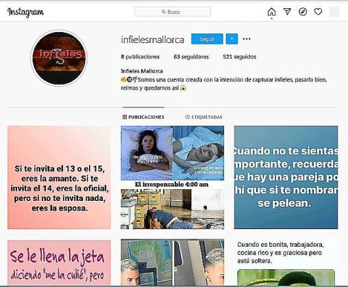 El perfil 'Infieles Mallorca' envía privados a las novias de los presuntos adúlteros provocando rupturas.
