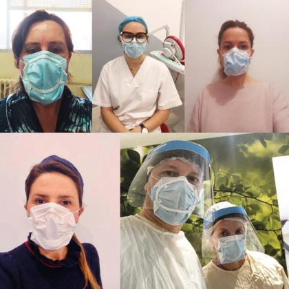 Profesionales sanitarios prueban el sellado de las mascarillas quirúrgicas patentado por ADEMA.