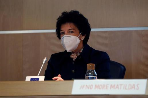 La ministra de Educación, Isabel Celaa, en la presentación de la campaña #NoMoreMatildas.