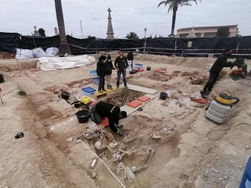 Este lunes los técnicos han localizado los restos de más de 20 personas en las cinco fosas encontradas en el cementerio de Porreres.
