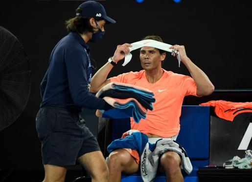 Imagen de Rafael Nadal durante su partido de cuartos de final del Abierto de Australia ante Stefanos Tsitsipas.