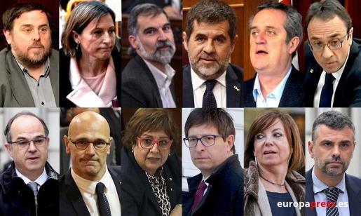 Montaje con los rostros de los líderes independentistas del 1-O y presos del procés.