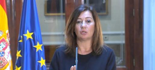 Francina Armengol, durante la rueda de prensa que ha ofrecido este viernes desde el Senado.