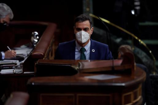 El presidente del Gobierno, Pedro Sánchez, se dirige comparece ante la Cámara este miércoles durante la sesión de control en el Congreso de los Diputados.