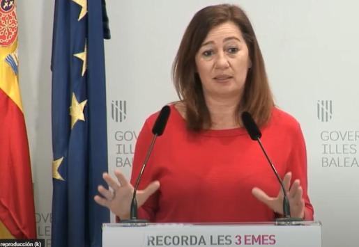 Francina Armengol, durante la rueda de prensa ofrecida este jueves.
