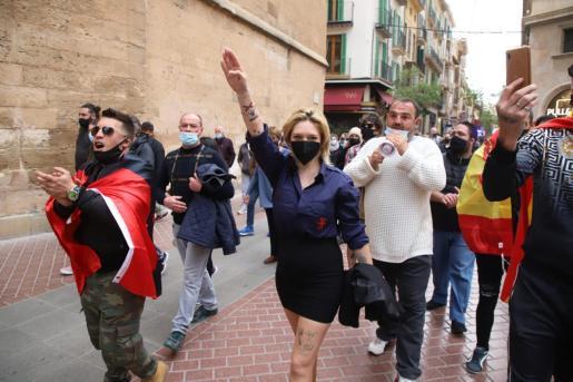 María Garau durante la manifestación de La Resistencia.