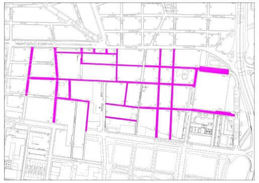 Mapa de las 16 calles situadas en el barrio de La Soledat Sur en las que se realizarán actuaciones.