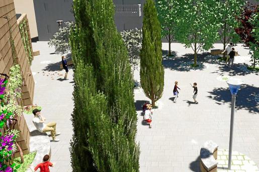 Simulación de la nueva plaza que dinamizará el centro de la localidad.