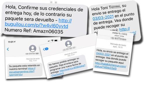 Algunos de los mensajes que han llegado estos días a los teléfonos móviles de miles de usuarios en la Isla.