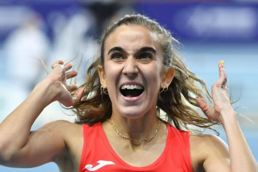 Imagen de la mallorquina Daniela García reaccionando a su clasificación para las semifinales del Europeo de atletismo de pista cubierta que se celebra en la ciudad polaca de Torun.