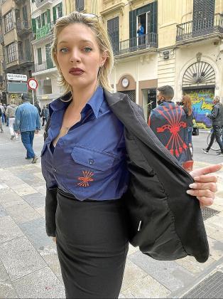 Imagen de la falangista durante la manifestación del pasado 1 de marzo.