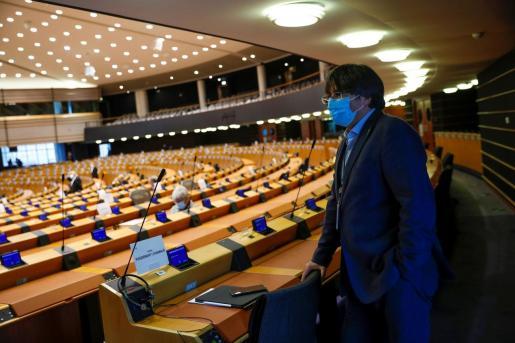 Carles Puigdemont a su llegada al Parlamento europeo.