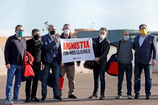 Imagen de la salida el pasado mes de enero de los presos catalanes de la cárcel barcelonesa de Lledoners.