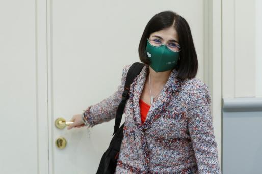 La ministra de Sanidad Carolina Darias, en la sesión de control al Gobierno que se celebra este martes en el Senado.