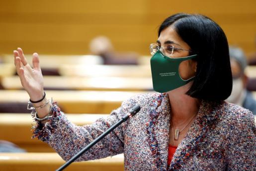 La ministra de Sanidad carolina Darias, en la sesión de control al Gobierno en el Senado.