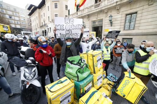 Manifestación de 'riders' en Palma.