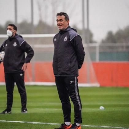 Luís García Plaza durante un entrenamiento del Mallorca.
