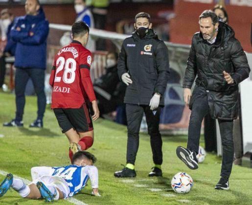 Vicente Moreno, en una acción captada durante el Mirandés-Espanyol.