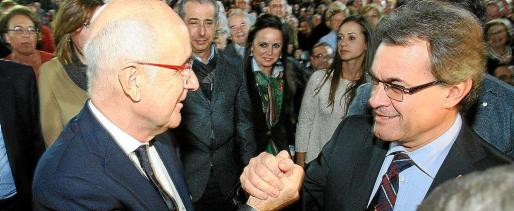 Artur Mas y Duran i Lleida, ayer en un acto electoral en Tarragona.