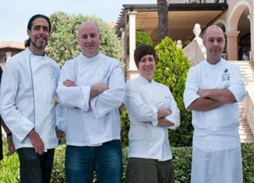 Cuatro de los cinco cocineros cuyos restaurantes de Mallorca cuentan una estrella Michelin. De izda. a dcha. Fernando Pérez Arellano, Tomeu Caldentey, Macarena de Castro y Thomas Kahl.
