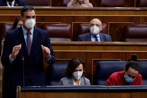 El presidente del Gobierno, Pedro Sánchez, responde al líder popular Pablo Casado, en el Congreso.
