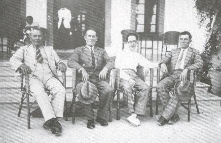 Pere Josep Cànaves Sales, alcalde y presidente de la junta gestora del Ajuntament de Pollença en 1936, y Bartomeu Cabanelles Botiga y Martí Vicenç Vilanova, miembros de la junta gestora asesinados por defender la legalidad republicana durante la rebelión militar.