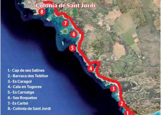 La costa opalina: del Cap de ses Salines a la Colònia de Sant Jordi.