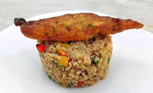 Pàmpol en quinoa y su lomo rebozado para 4 personas.