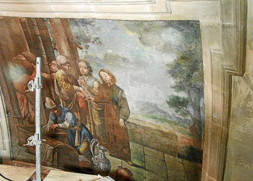 Imagen de una de las obras restauradas en la iglesia de San Antoni de Viena.