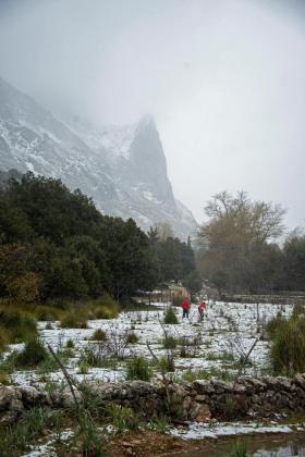 Primeras nieves caen sobre el Puig Major, punto más elevado de la Sierra de Tramuntana.