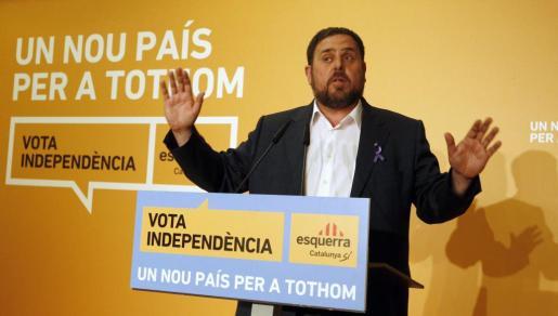 Oriol Junqueras, en la noche electoral.