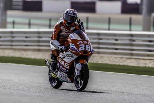 Imagen del piloto mallorquín en el Mundial de Moto3, Izan Guevara.