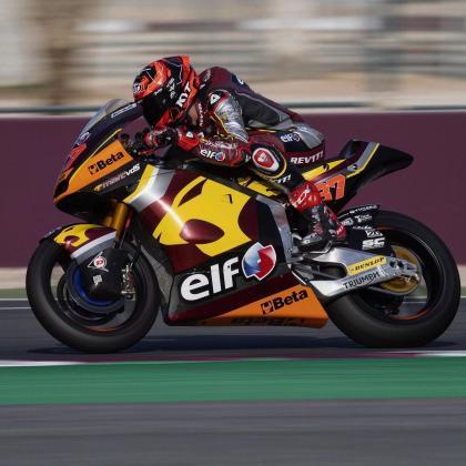 Imagen del piloto mallorquín de Moto2, Augusto Fernández, en acción en Losail (Catar).
