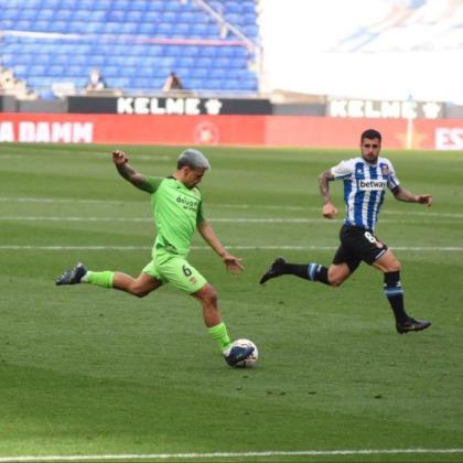 Momento del partido entre el Espanyol y el Fuenlabrada.
