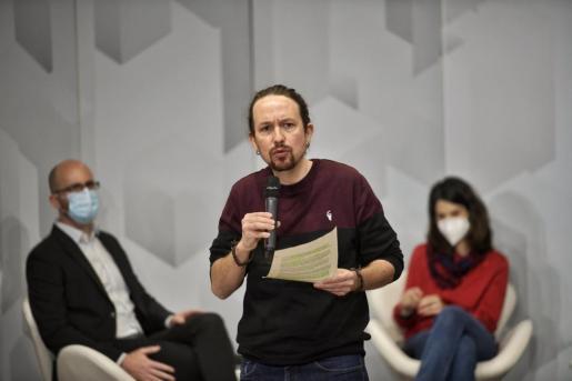 El secretario general de Podemos, Pablo Iglesias, durante un acto organizado por el partido.