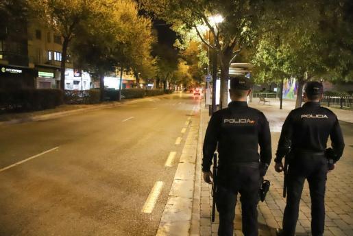Imagen de las calles de Palma vacías durante el toque de queda.