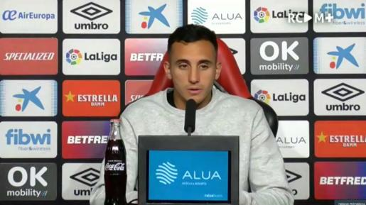 Franco Russo, defensa del Mallorca, en la ruede de prensa virtual de este miércoles.