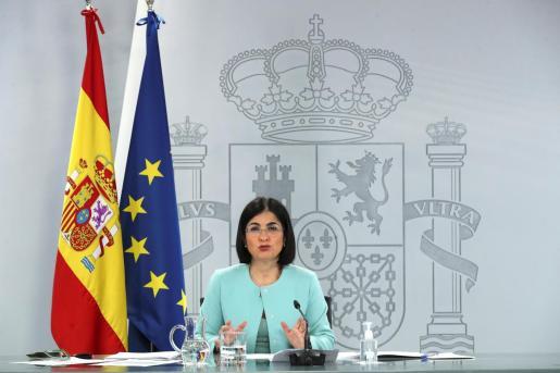 La Ministra de Sanidad, Carolina Darias, durante una rueda de prensa.