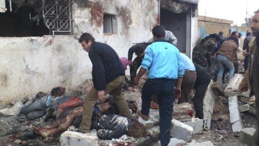 La panadería de Halfaya, tras el bombardeo.