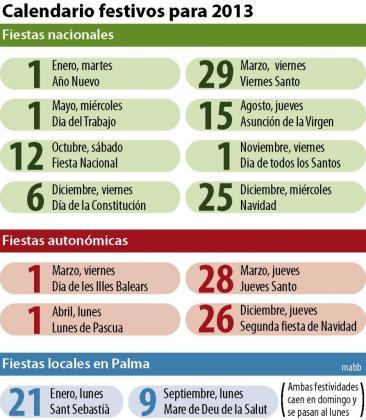 Calendario laboral de 2013.