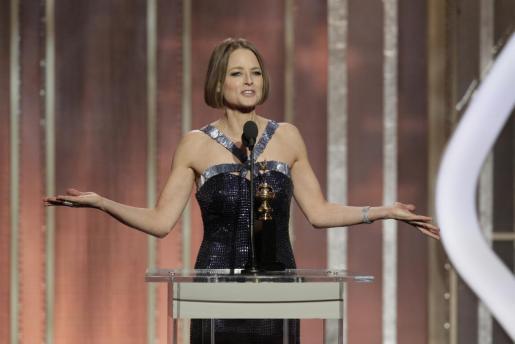 Jodie Foster, durante su discurso en los Globos de Oro.