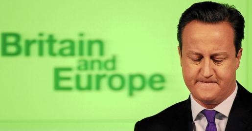 El primer ministro británico, David Cameron, durante su discurso sobre las relaciones entre el Reino Unido y Europa en Londres.