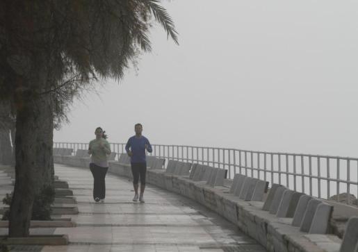 Ayer la niebla se impuso por la mañana en Palma.