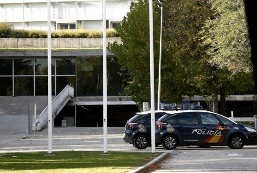 Coches de Policía en las inmediaciones del Madrid Arena.