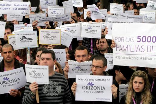 Imagen de la concentración de trabajadores de Orizonia.
