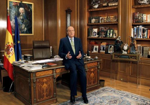 El rey Juan Carlos, durante su tradicional mensaje de Navidad.