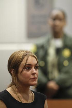 La actriz Lindsay Lohan, durante su comparecencia en los juzgados.