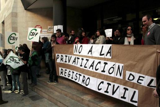 Imagen de la concentración celebrada hoy en Palma.